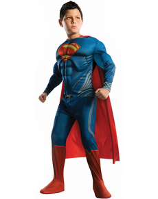 Costume Superman Uomo d'acciaio muscoloso da bambino