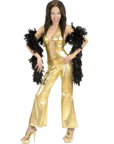 Costume da bellezza disco dorato per donna
