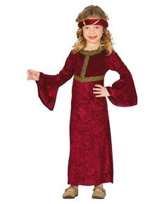 Costume da dama medievale rosso per bambina